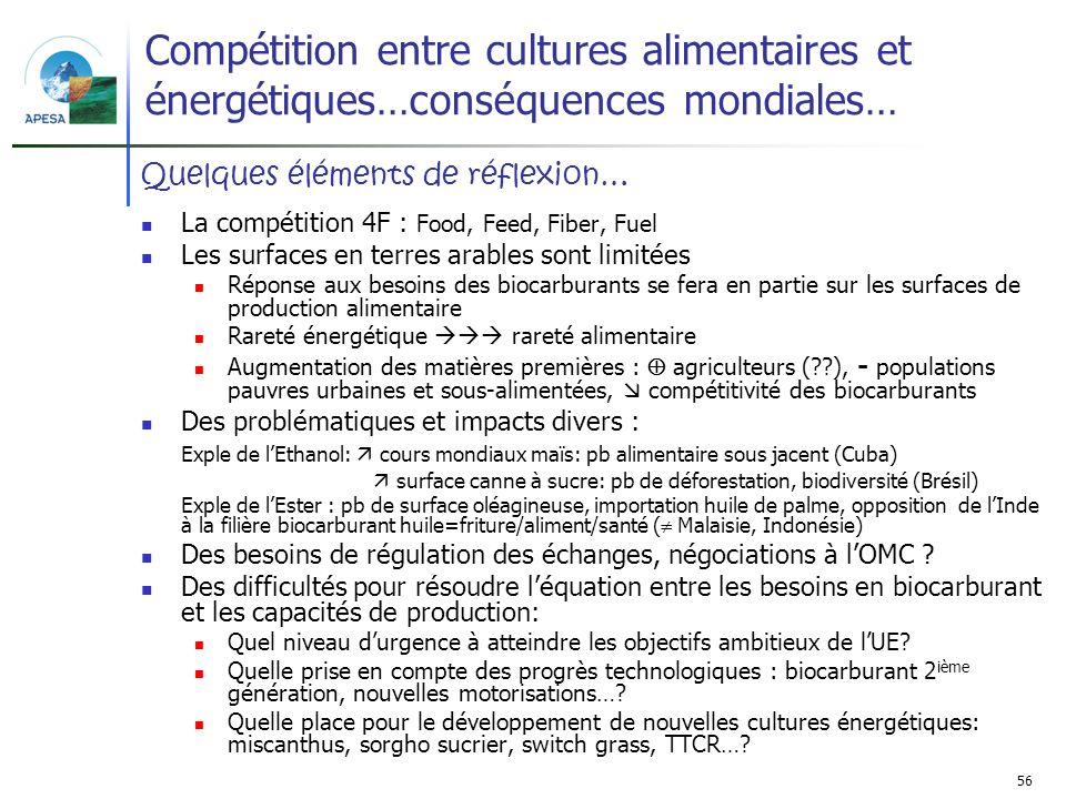 Compétition entre cultures alimentaires et énergétiques…conséquences mondiales…