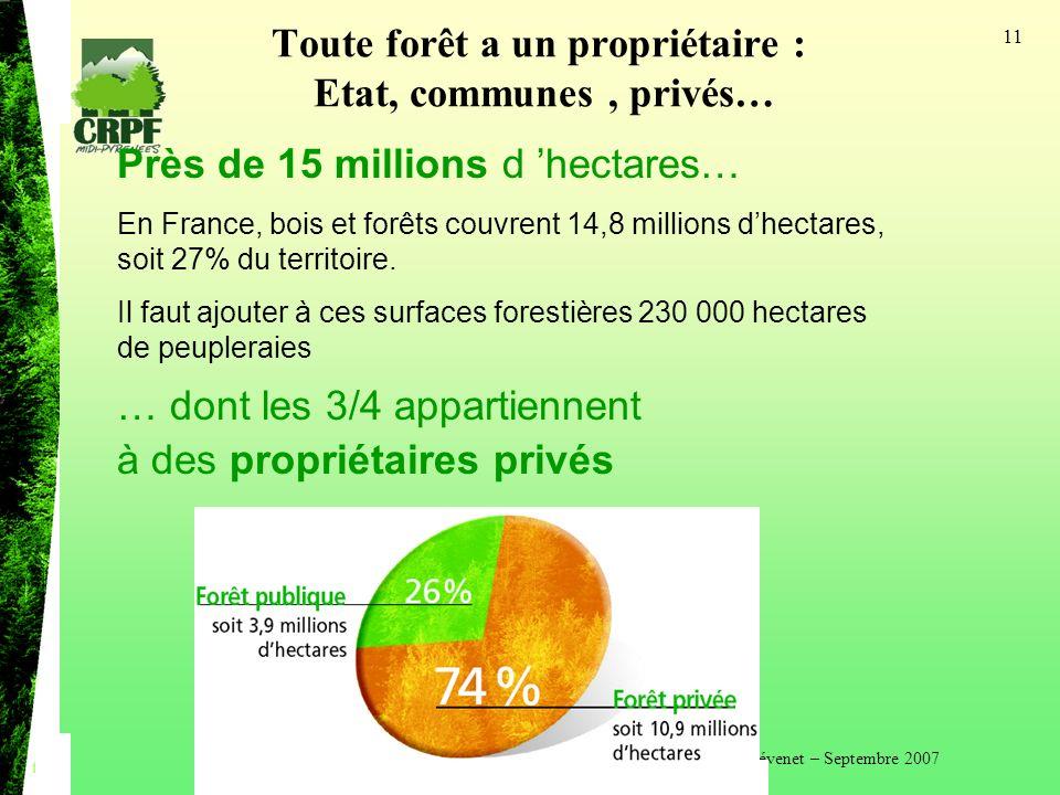Toute forêt a un propriétaire : Etat, communes , privés…