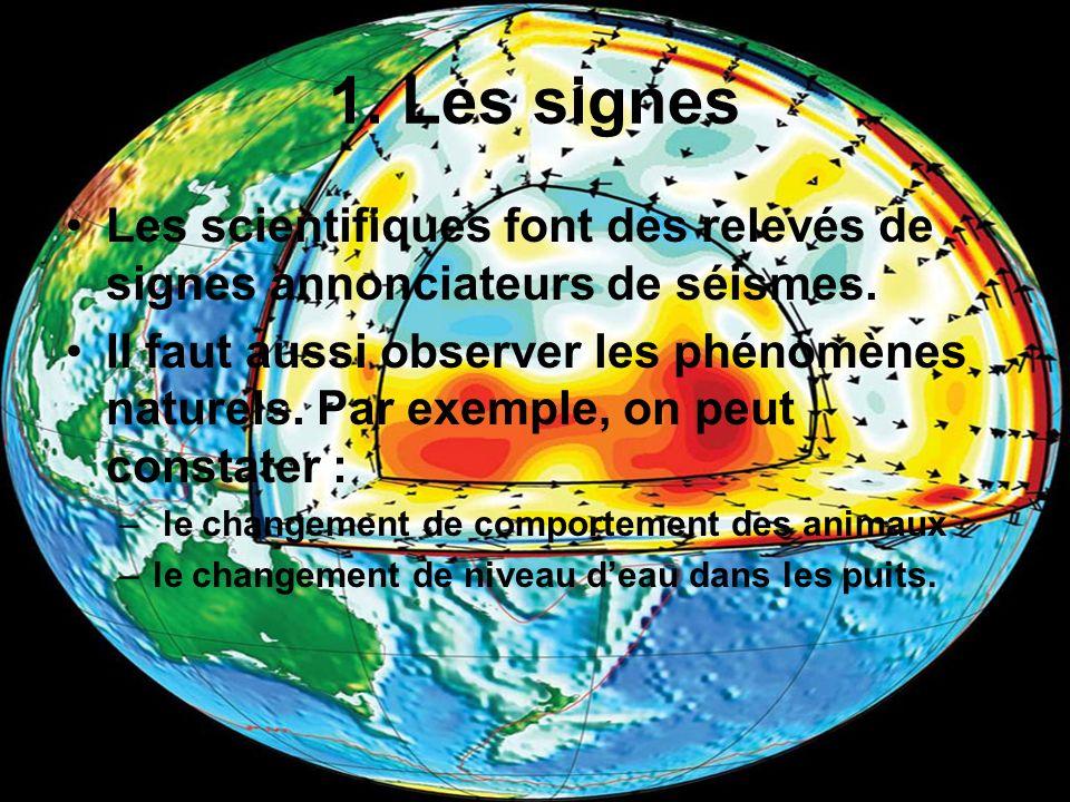 1. Les signesLes scientifiques font des relevés de signes annonciateurs de séismes.