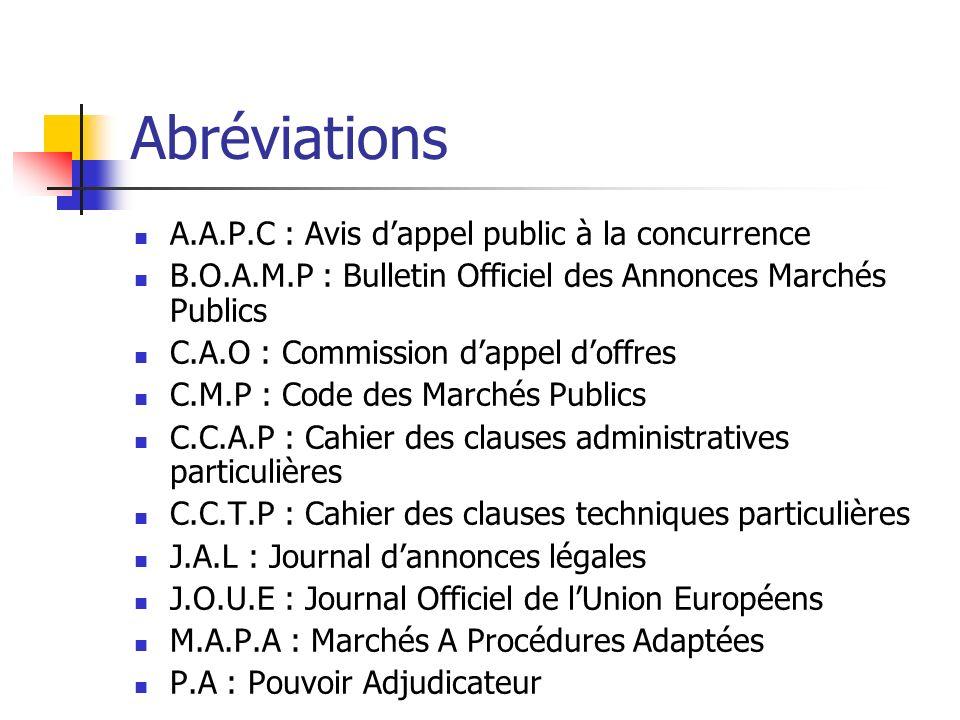 Abréviations A.A.P.C : Avis d'appel public à la concurrence