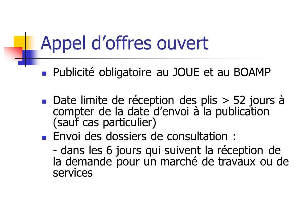 Appel d'offres ouvert Publicité obligatoire au JOUE et au BOAMP