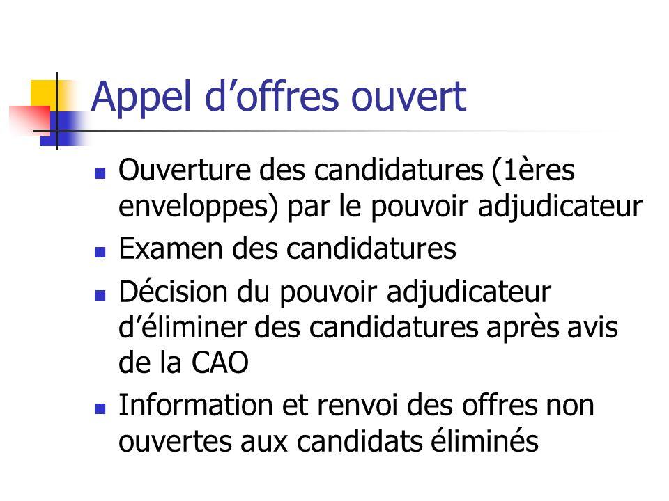 Appel d'offres ouvert Ouverture des candidatures (1ères enveloppes) par le pouvoir adjudicateur. Examen des candidatures.