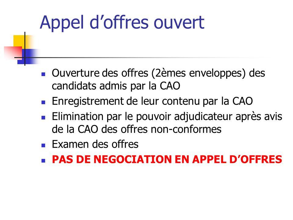 Appel d'offres ouvert Ouverture des offres (2èmes enveloppes) des candidats admis par la CAO. Enregistrement de leur contenu par la CAO.