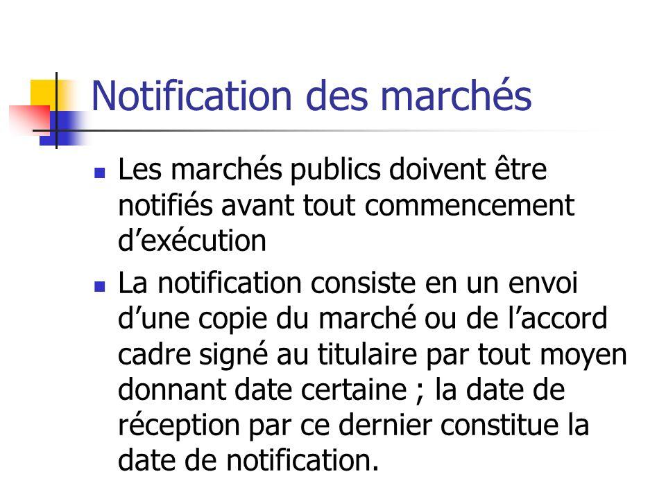 Notification des marchés