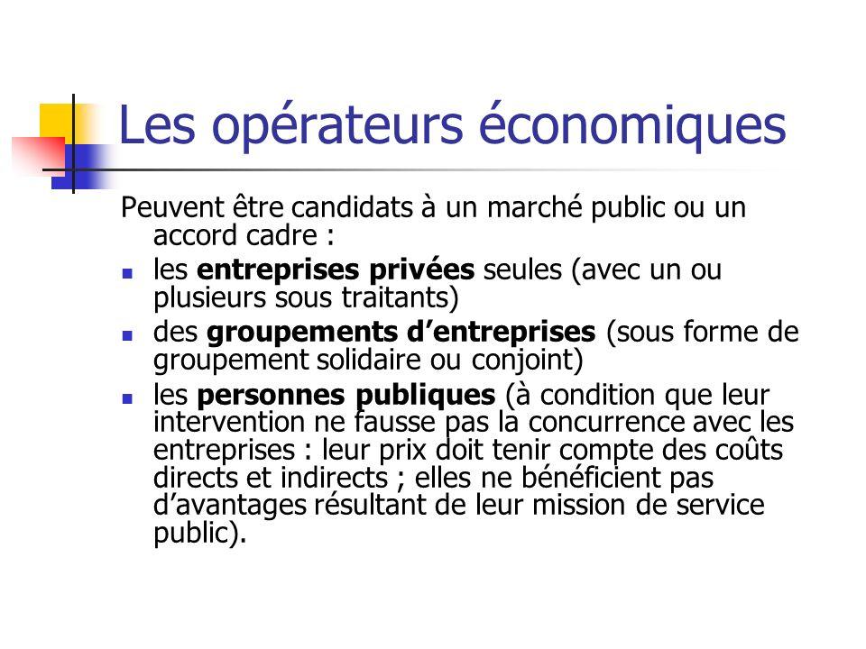 Les opérateurs économiques