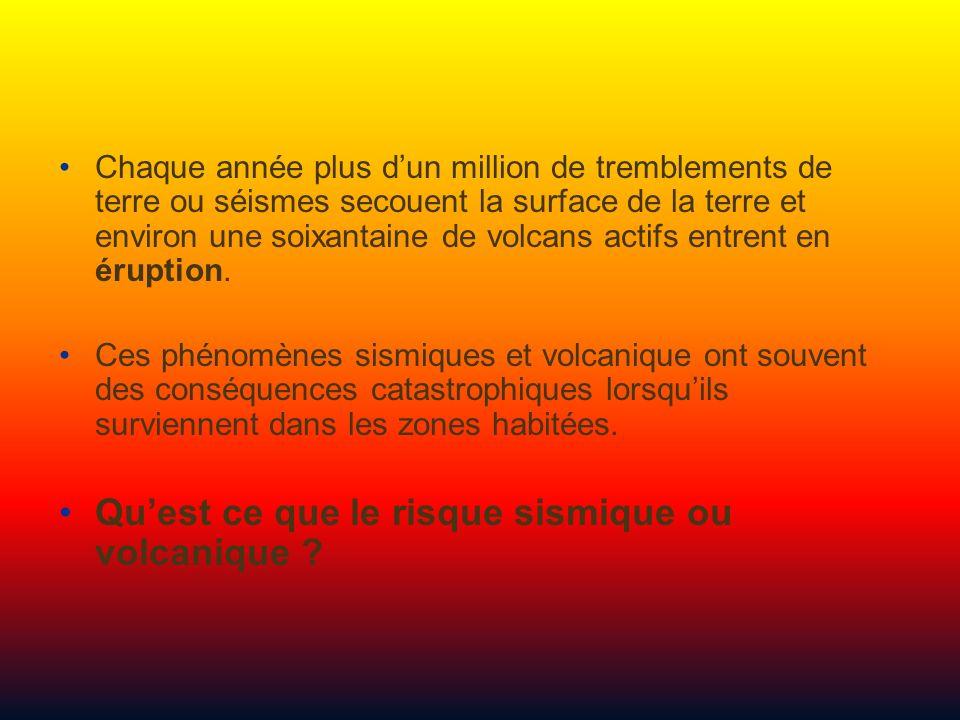 Qu'est ce que le risque sismique ou volcanique