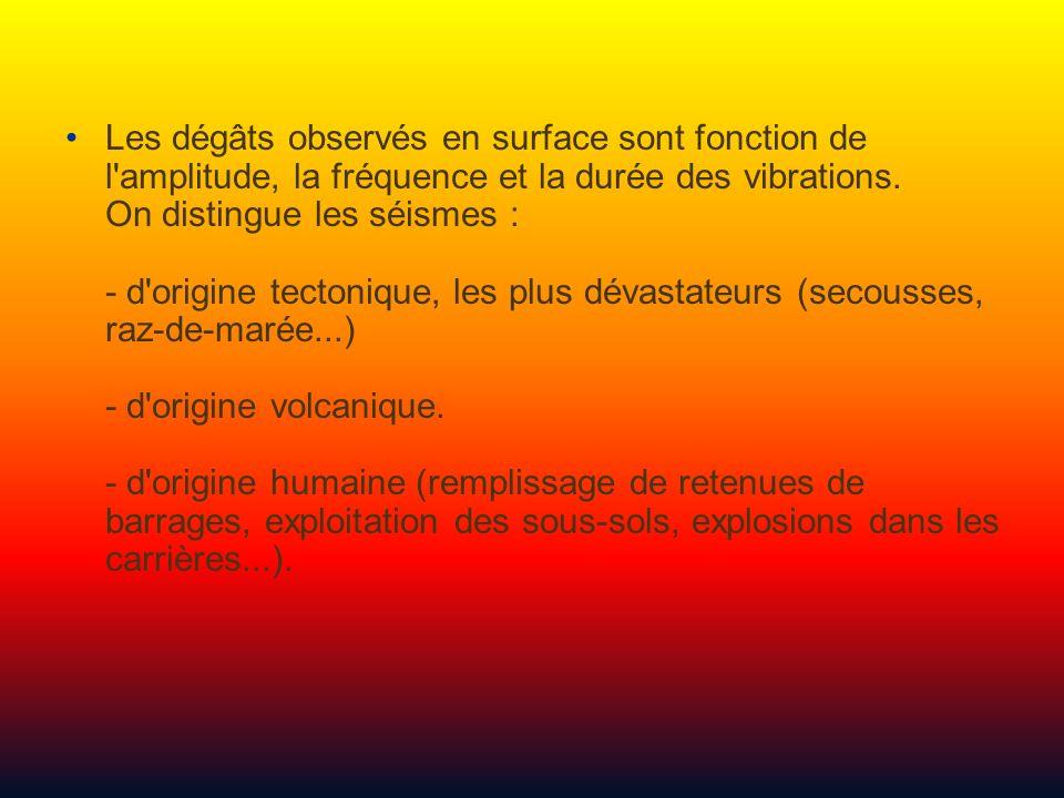 Les dégâts observés en surface sont fonction de l amplitude, la fréquence et la durée des vibrations.