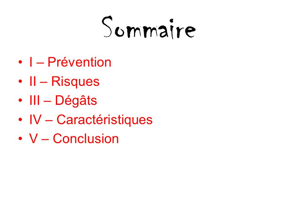 Sommaire I – Prévention II – Risques III – Dégâts
