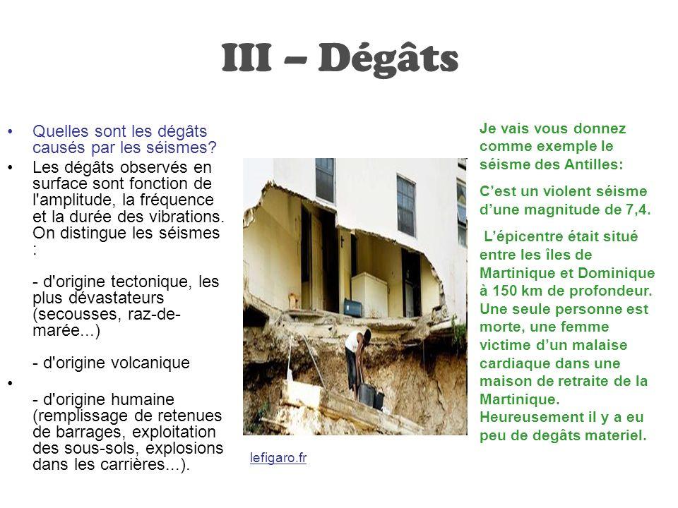 III – Dégâts Quelles sont les dégâts causés par les séismes