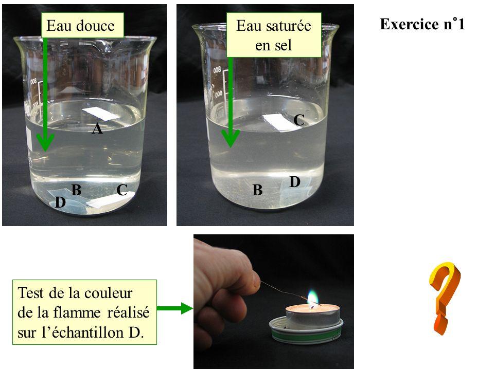 Eau douce Eau saturée en sel Exercice n°1 C A D B C B D