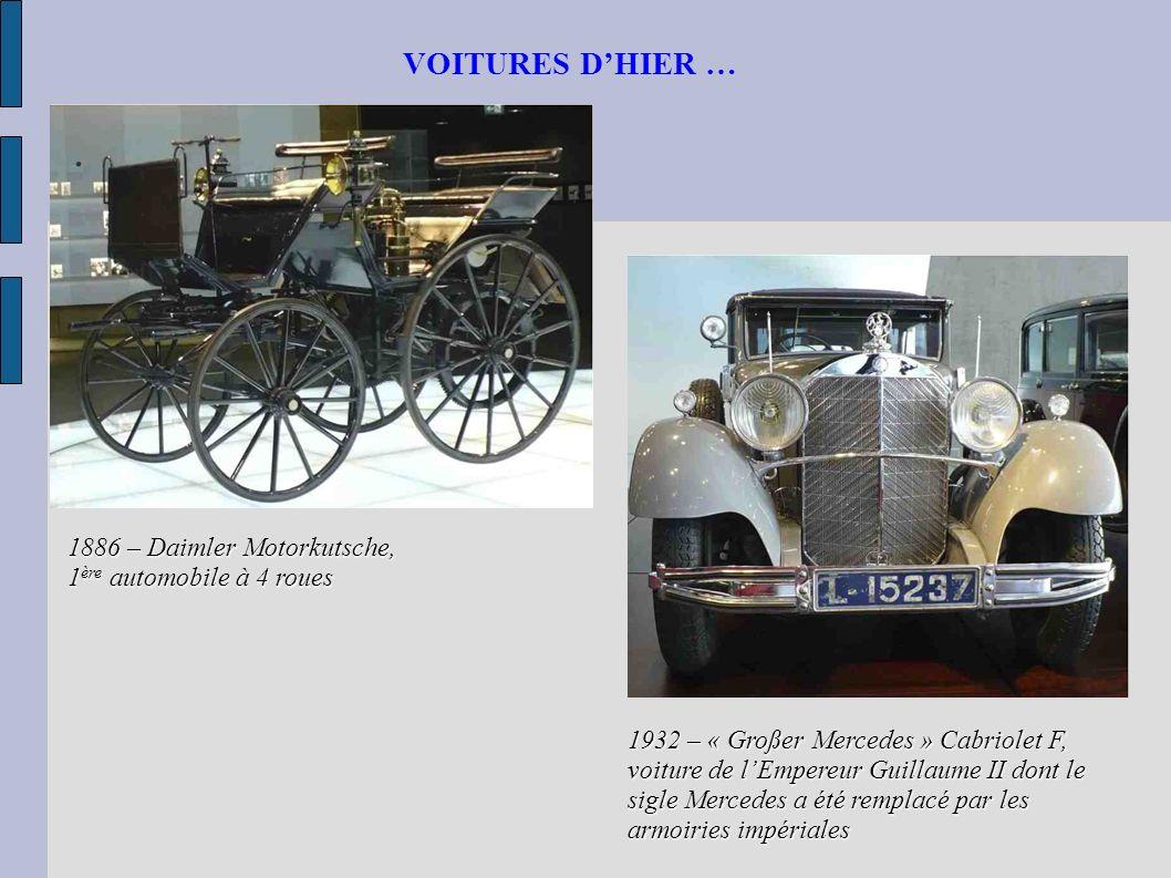 VOITURES D'HIER … 1886 – Daimler Motorkutsche, 1ère automobile à 4 roues.