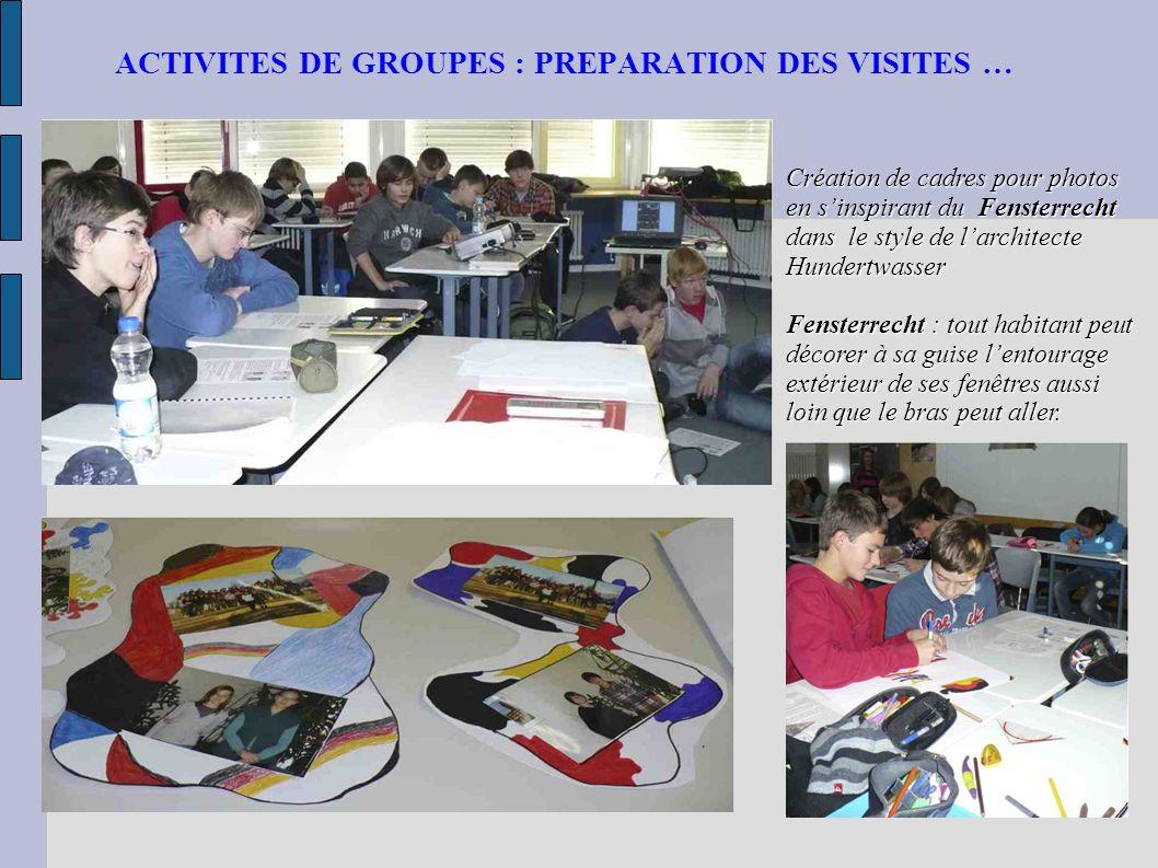 ACTIVITES DE GROUPES : PREPARATION DES VISITES …