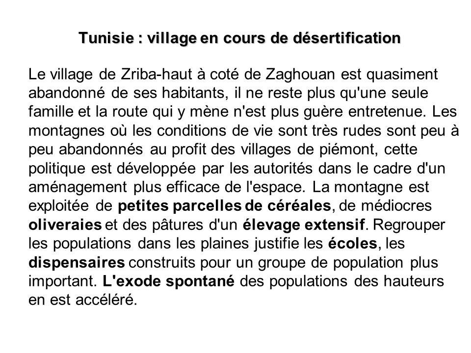Tunisie : village en cours de désertification
