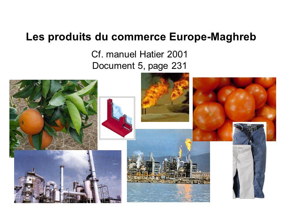 Les produits du commerce Europe-Maghreb
