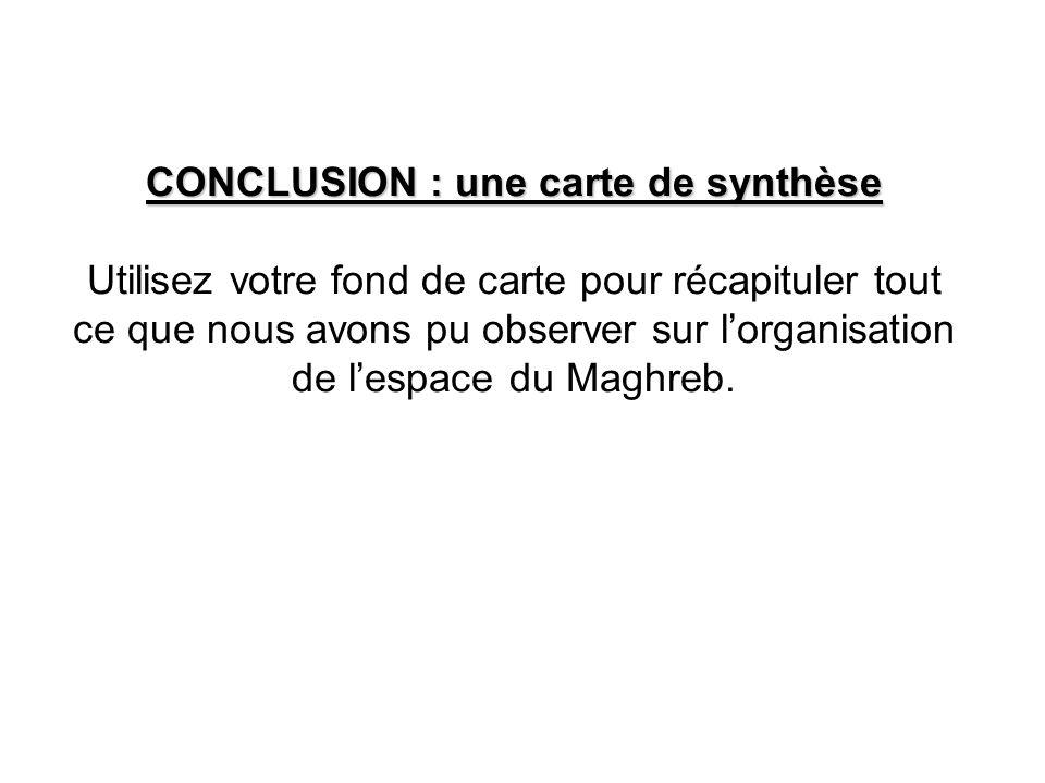 CONCLUSION : une carte de synthèse Utilisez votre fond de carte pour récapituler tout ce que nous avons pu observer sur l'organisation de l'espace du Maghreb.