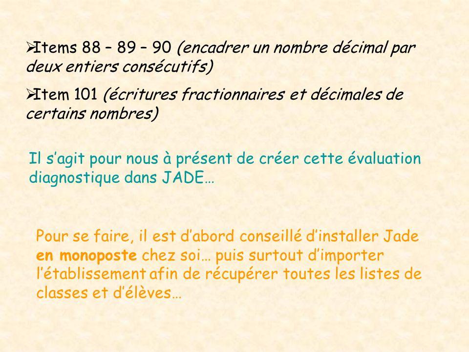Items 88 – 89 – 90 (encadrer un nombre décimal par deux entiers consécutifs)