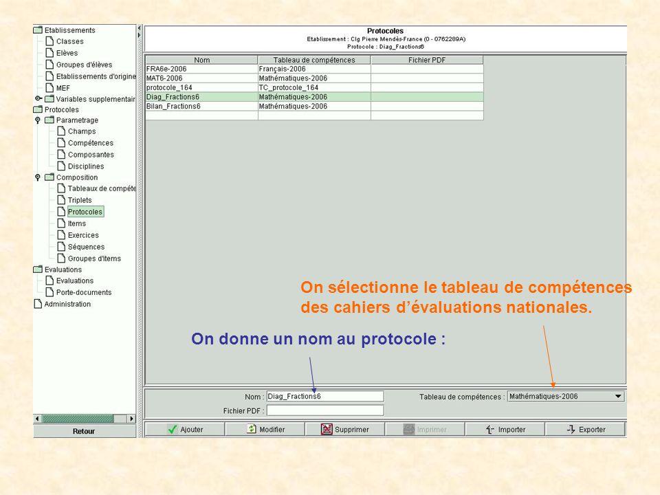 On sélectionne le tableau de compétences des cahiers d'évaluations nationales.