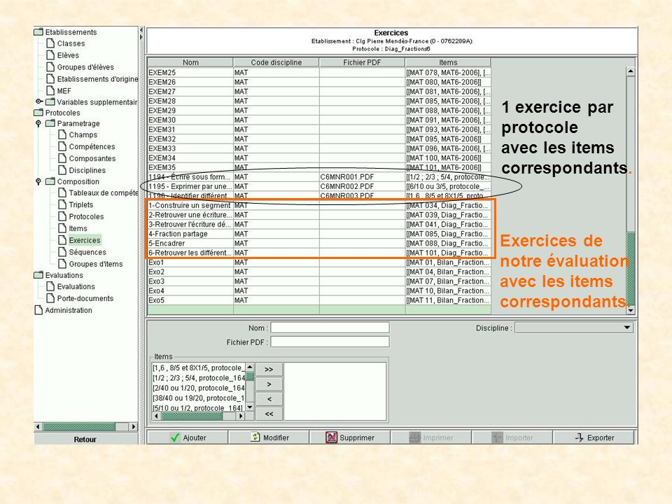 1 exercice par protocole. avec les items. correspondants. Exercices de. notre évaluation. avec les items.