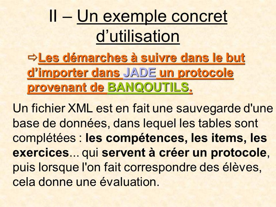 II – Un exemple concret d'utilisation