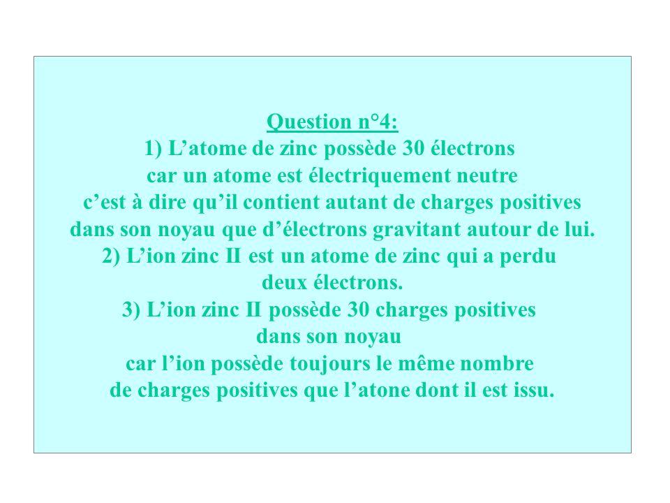 1) L'atome de zinc possède 30 électrons