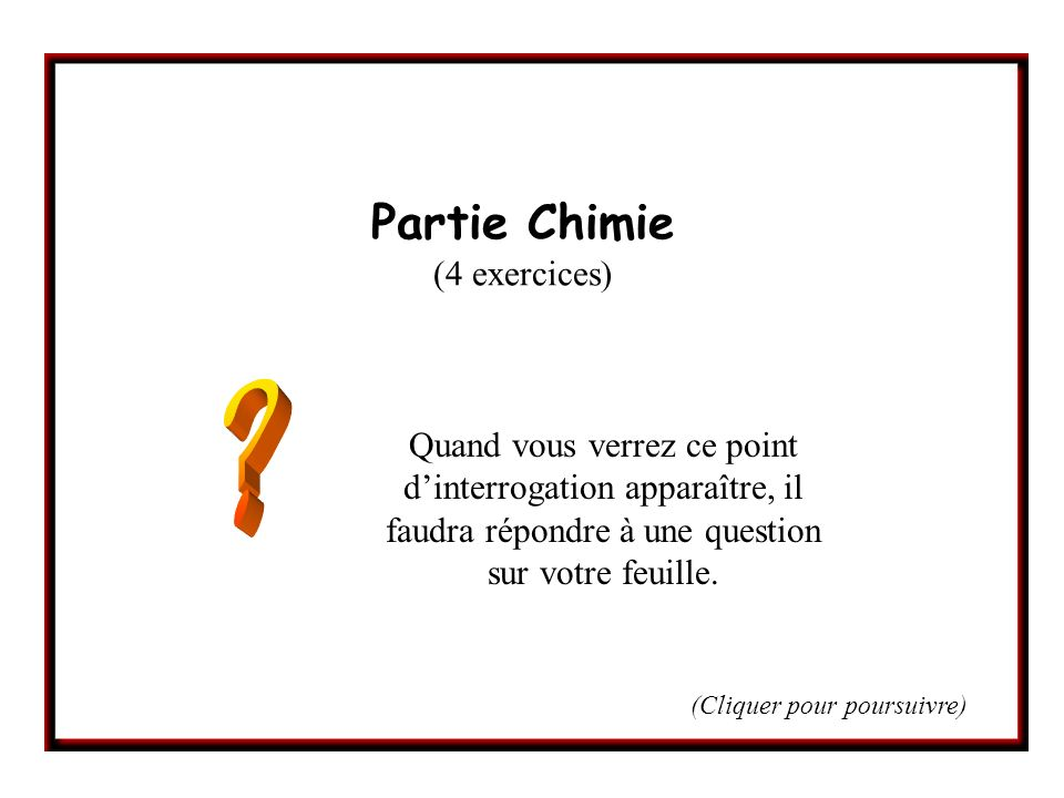 Partie Chimie (4 exercices)