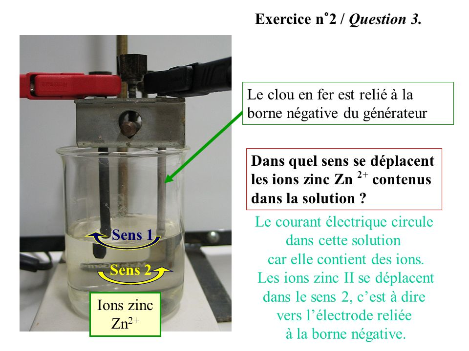 Exercice n°2 / Question 3. Le clou en fer est relié à la borne négative du générateur.