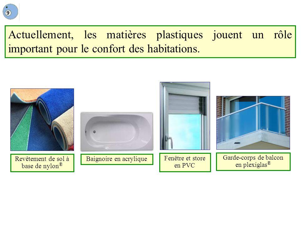 Actuellement, les matières plastiques jouent un rôle important pour le confort des habitations.