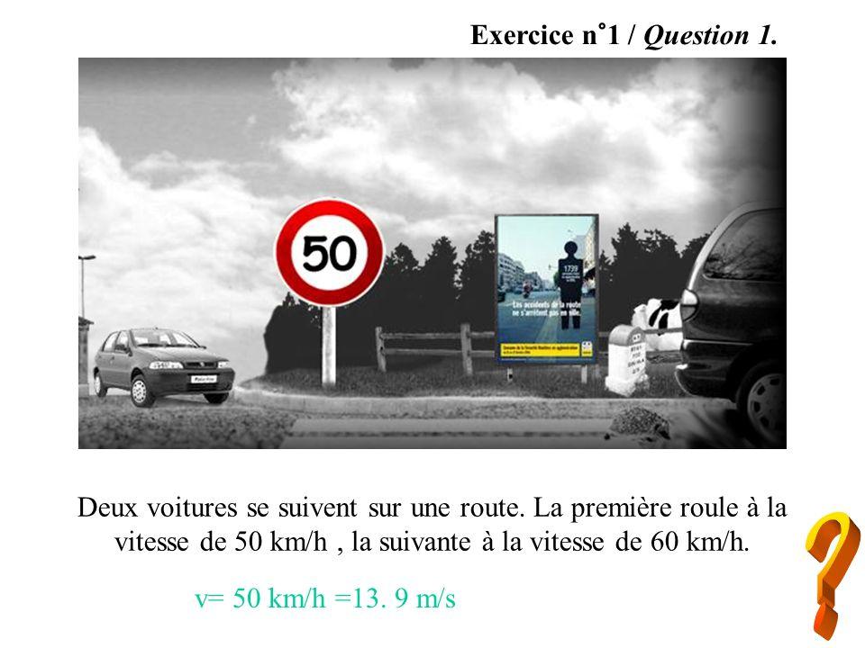 Exercice n°1 / Question 1. Deux voitures se suivent sur une route. La première roule à la vitesse de 50 km/h , la suivante à la vitesse de 60 km/h.