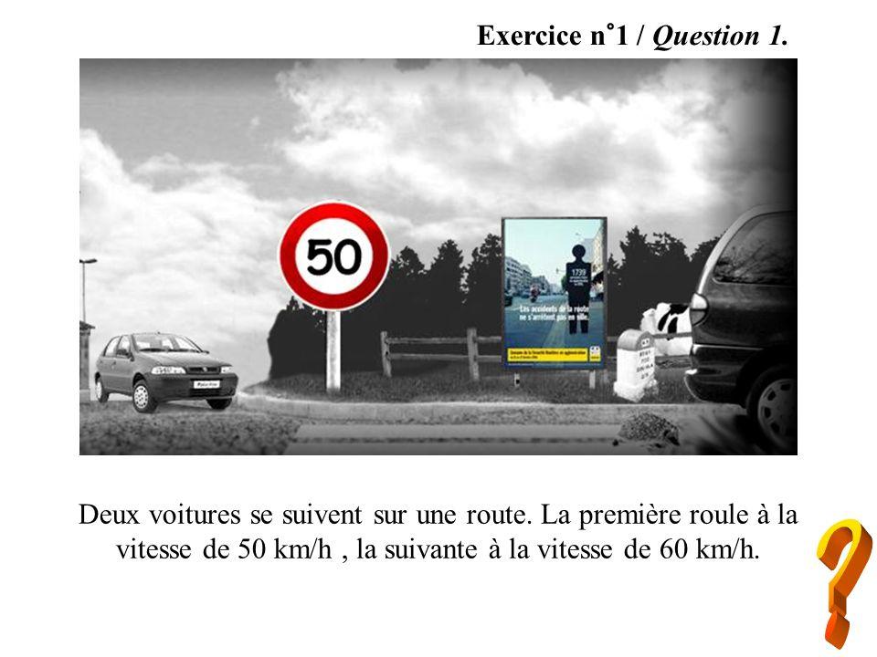 Exercice n°1 / Question 1.Deux voitures se suivent sur une route. La première roule à la vitesse de 50 km/h , la suivante à la vitesse de 60 km/h.