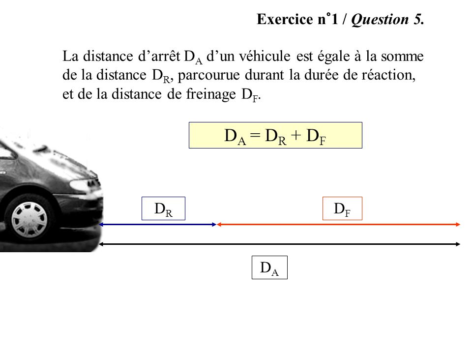 DA = DR + DF Exercice n°1 / Question 5.