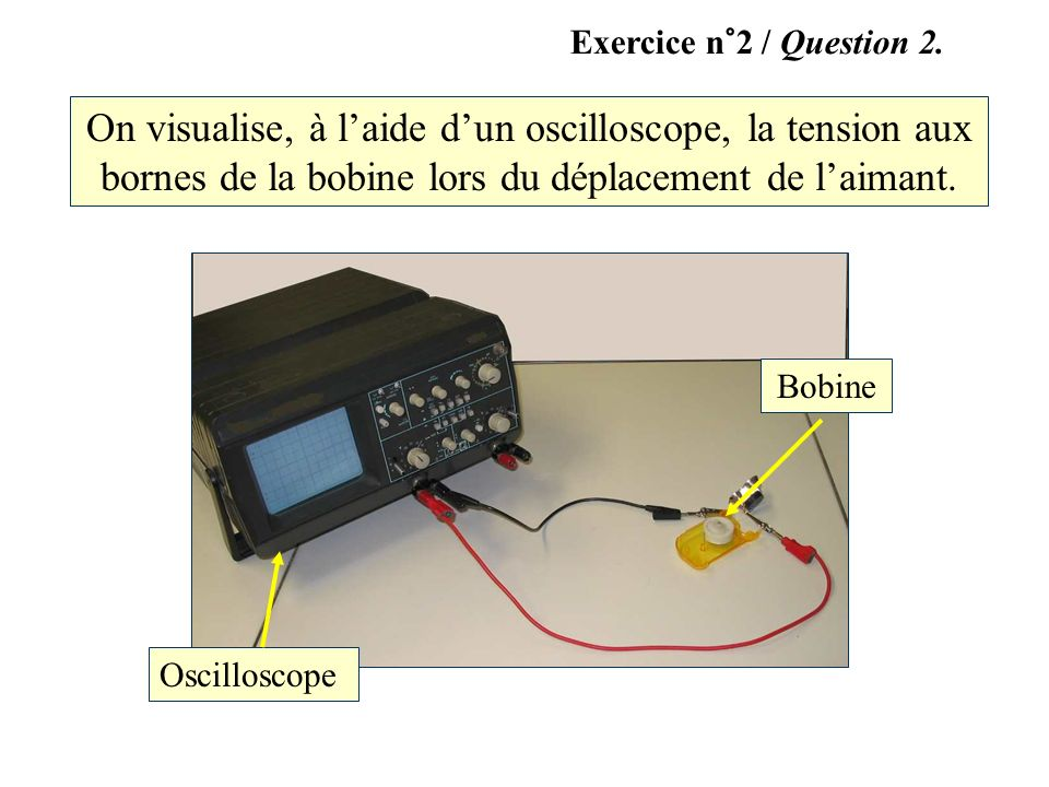 Exercice n°2 / Question 2. On visualise, à l'aide d'un oscilloscope, la tension aux bornes de la bobine lors du déplacement de l'aimant.