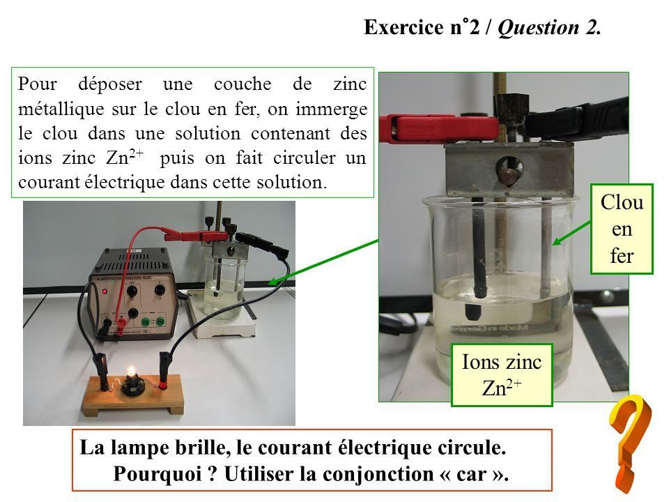 Exercice n°2 / Question 2. Clou en fer Ions zinc Zn2+