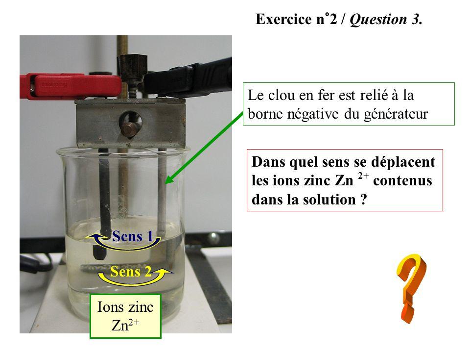 Exercice n°2 / Question 3.Le clou en fer est relié à la borne négative du générateur.