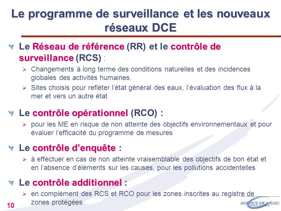 Le programme de surveillance et les nouveaux réseaux DCE