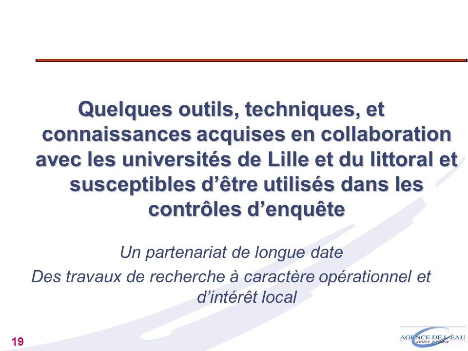 Quelques outils, techniques, et connaissances acquises en collaboration avec les universités de Lille et du littoral et susceptibles d'être utilisés dans les contrôles d'enquête