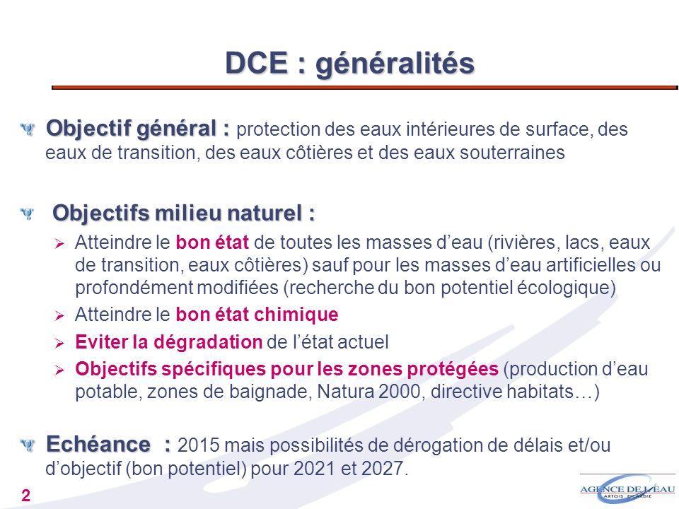 DCE : généralités Objectif général : protection des eaux intérieures de surface, des eaux de transition, des eaux côtières et des eaux souterraines.