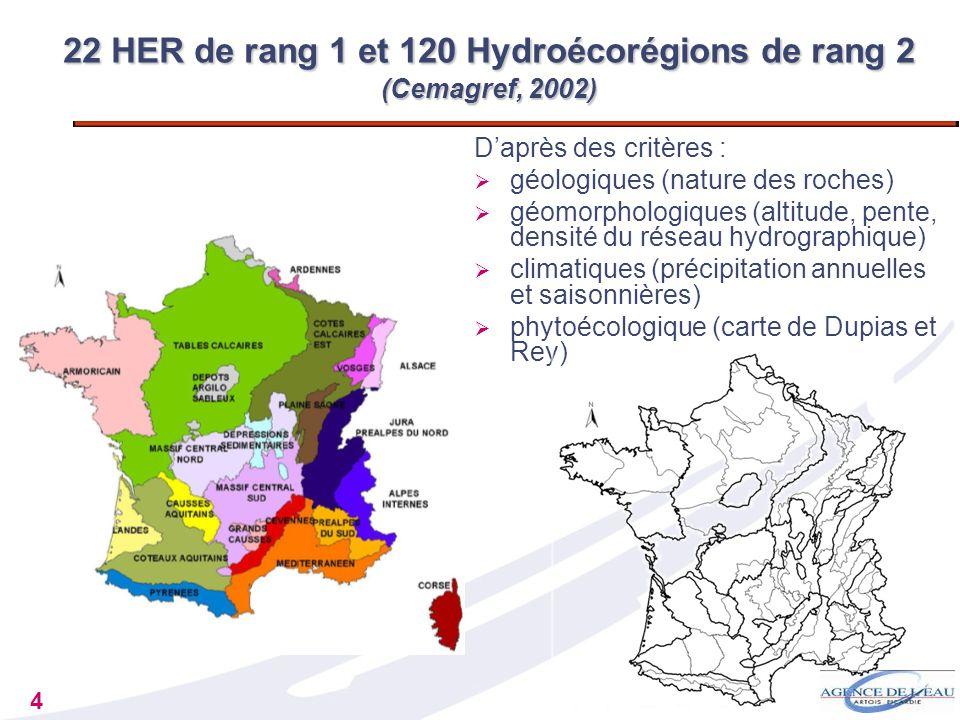 22 HER de rang 1 et 120 Hydroécorégions de rang 2 (Cemagref, 2002)