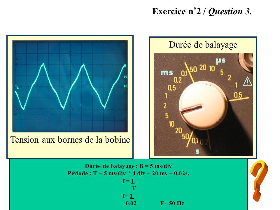 Exercice n°2 / Question 3. Durée de balayage