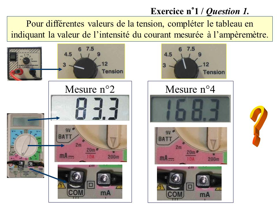 Mesure n°2 Mesure n°4 Exercice n°1 / Question 1.