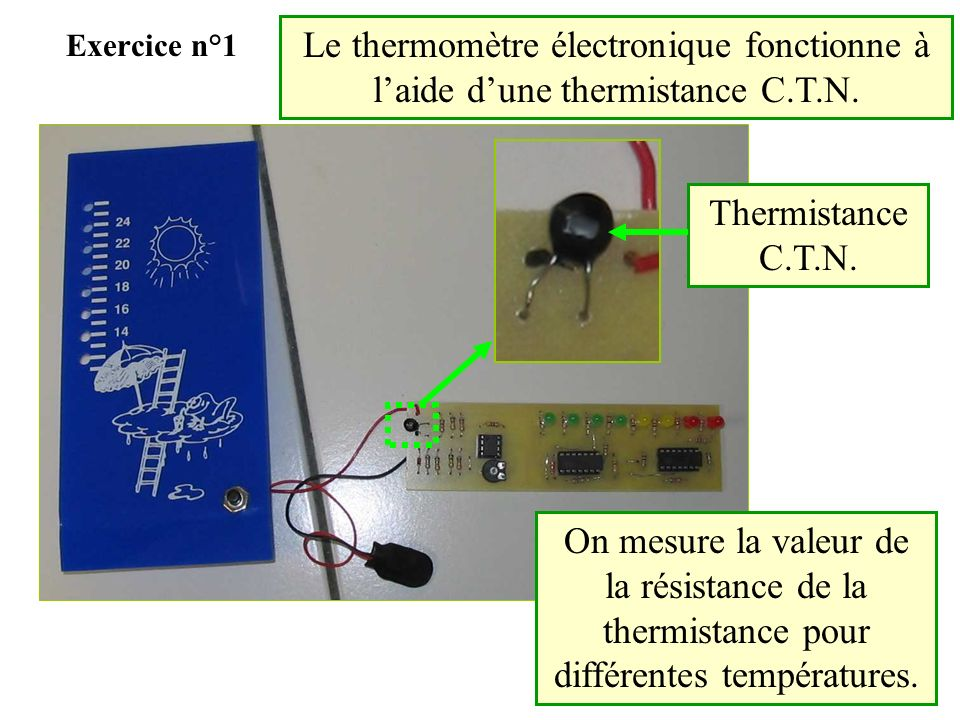Exercice n°1 Le thermomètre électronique fonctionne à l'aide d'une thermistance C.T.N. Thermistance C.T.N.