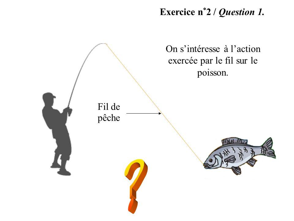 On s'intéresse à l'action exercée par le fil sur le poisson.