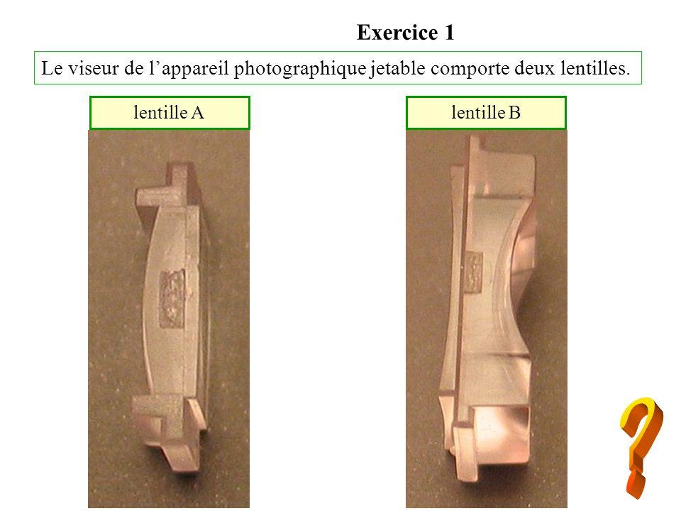 Exercice 1Le viseur de l'appareil photographique jetable comporte deux lentilles. lentille A. lentille B.