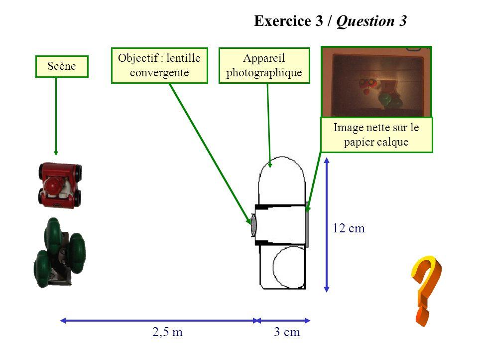 Exercice 3 / Question 3 12 cm 2,5 m 3 cm