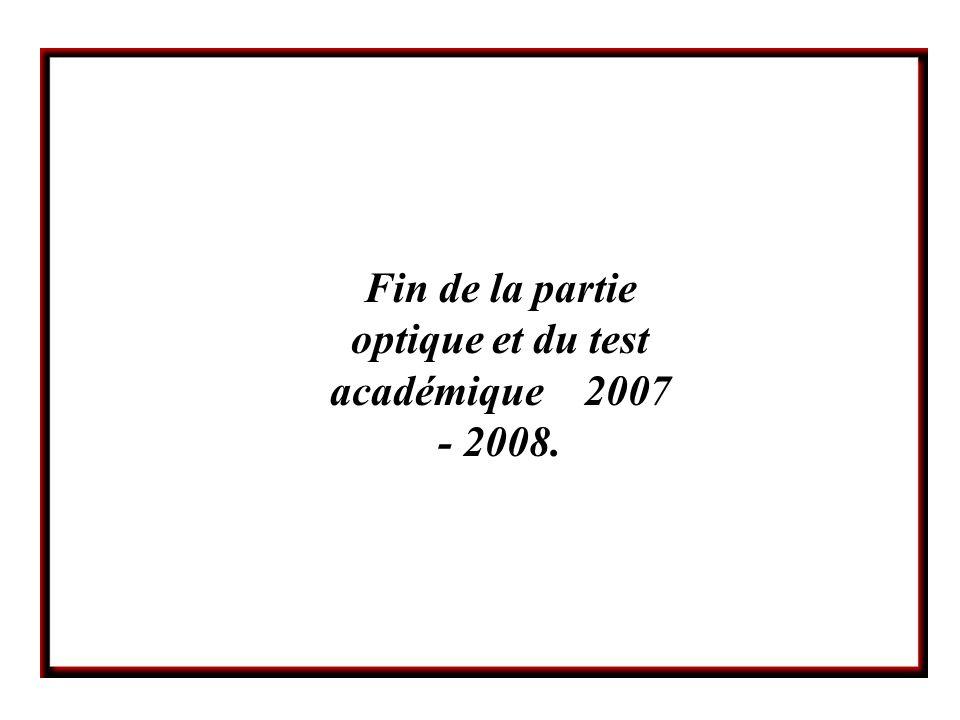 Fin de la partie optique et du test académique 2007 - 2008.