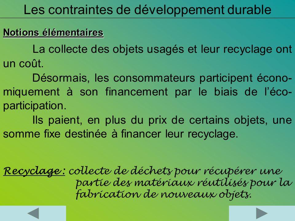 Les contraintes de développement durable