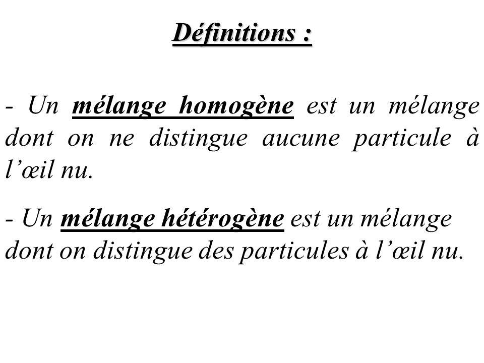 Définitions : - Un mélange homogène est un mélange dont on ne distingue aucune particule à l'œil nu.