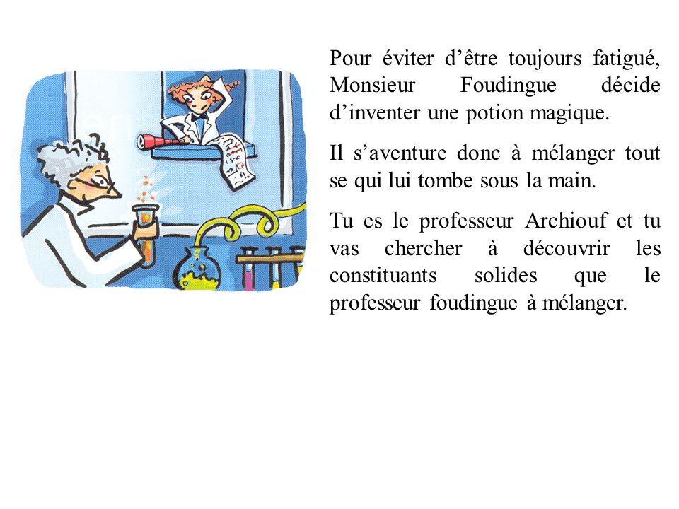 Pour éviter d'être toujours fatigué, Monsieur Foudingue décide d'inventer une potion magique.