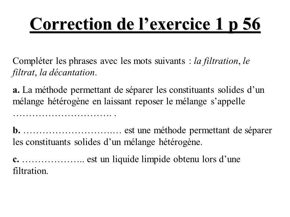 Correction de l'exercice 1 p 56