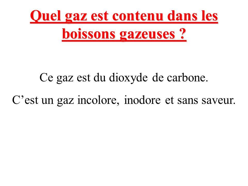 Quel gaz est contenu dans les boissons gazeuses