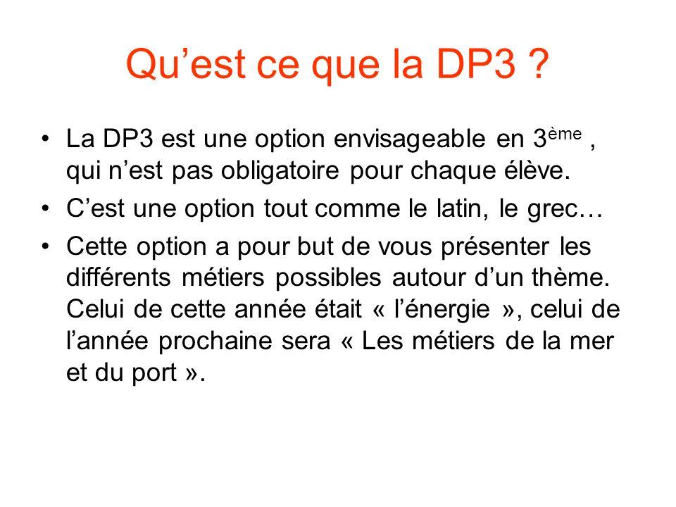 Qu'est ce que la DP3 La DP3 est une option envisageable en 3ème , qui n'est pas obligatoire pour chaque élève.